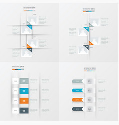 timeline 4 item orange blue gray color vector image