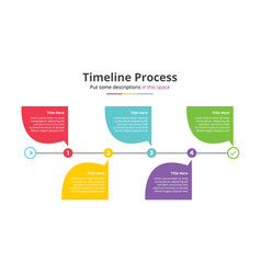 timeline process infographics template with 5 vector image