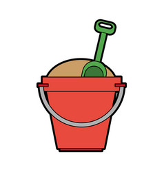 Toy bucket with sand and shovel icon image vector