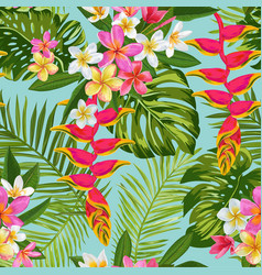 tropical flowers and palm leaves seamless pattern vector image