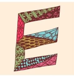 Vintage monogram E Doodle colorful alphabet vector image