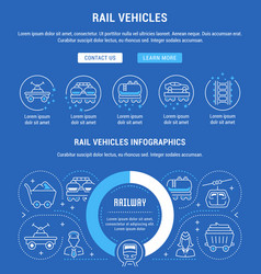 Website banner and landing page rail vehicles vector
