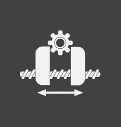 white icon on black background gears and wheels vector image