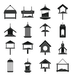 winter bird feeders icons set simple style vector image