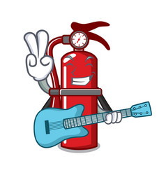 With guitar fire extinguisher mascot cartoon vector