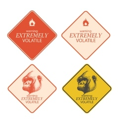 Yellow warning and danger signs collection eps8 vector image