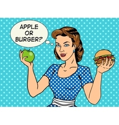 Young woman with apple and burger pop art vector image
