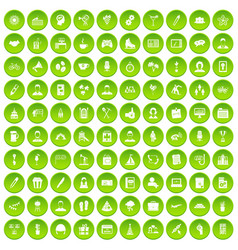 100 team building icons set green circle vector image vector image