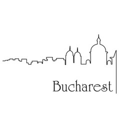 bucharest city one line drawing background vector image vector image