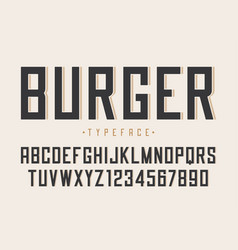 burger retro regular font design alphabet vector image