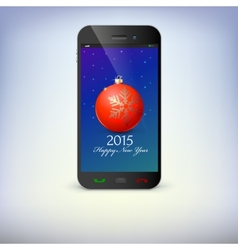 Front view of christmas phone isolated New Year vector image vector image