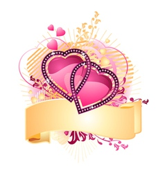 love hearts with banner vector image vector image