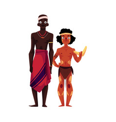 native black skinned african tribal man and vector image