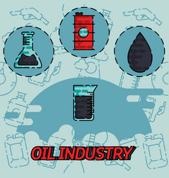 oil industry flat concept icons vector image