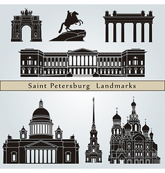 Saint Petersburg landmarks and monuments vector image
