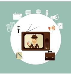 Tv journalist acts in direct effire llustration vector