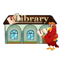 A parrot holding a book outside the library vector image