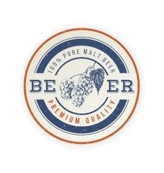 beer emblem with hand drawn hop brunch vector image vector image
