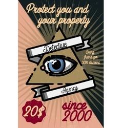Color vintage detective agency poster vector image
