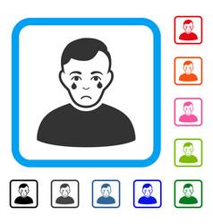 Crying boy framed sad icon vector