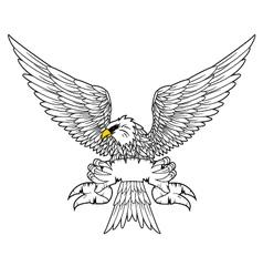 Fury spread winged eagle tattoo vector image vector image