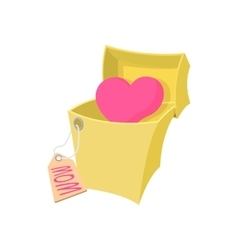 Gift box with a pink heart cartoon icon vector image vector image