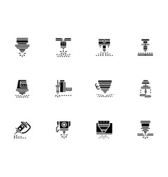 laser technology black glyph style icons vector image vector image