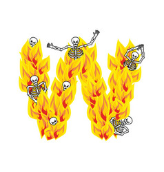 Letter w hellish flames and sinners font fiery vector