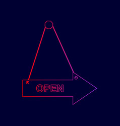 open sign line icon with vector image vector image