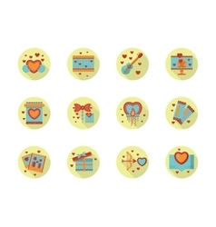 Romantic event flat color round icons vector image
