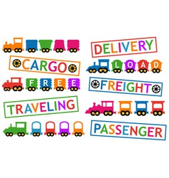 set colorful trains for travel and cargo vector image vector image