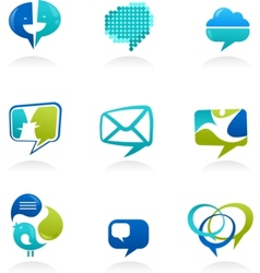 social media and speech icons vector image