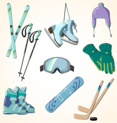 winter sports equipment icons collection vector image vector image