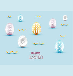 3d happy easter day with gold ribbon and eggs vector image vector image