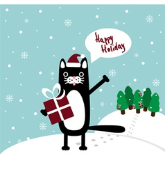 cat with present greetings vector image vector image