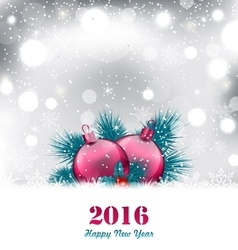 Christmas winter background with glass balls vector image vector image