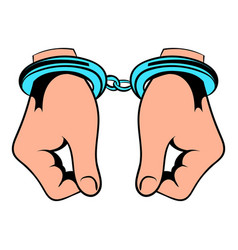 hands in handcuffs icon icon cartoon vector image