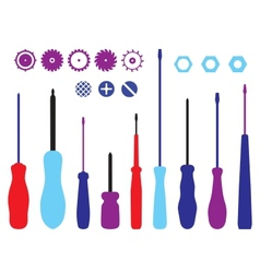 Screwdrivers gears and caps silhouettes set vector image vector image
