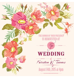 Wedding Floral Invitation Card - Save the Date vector image vector image
