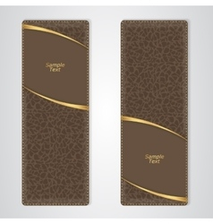 Elegant brown leather vertical banner with two vector image vector image