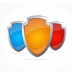 Empty metal shields Protection concept vector image