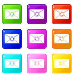 envelope with wax seal icons 9 set vector image vector image