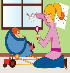mom-with-baby vector image vector image