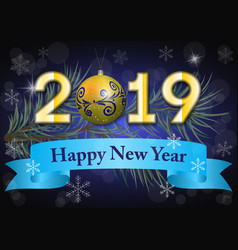 2019 on a dark winter background vector image