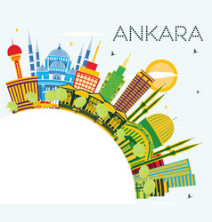 ankara turkey city skyline with color buildings vector image