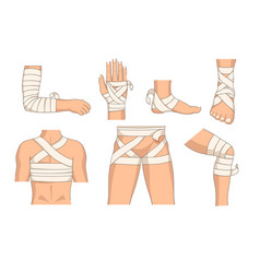 Bandaging body parts bandage human body injury vector