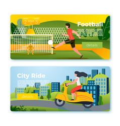 banners - football man girl on motorbike vector image