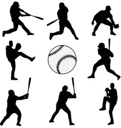Baseball players silhouettes collection vector