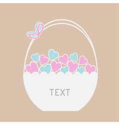 Basket full of blue and pink hearts card vector