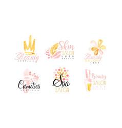 beauty salon logo design collection spa skin vector image